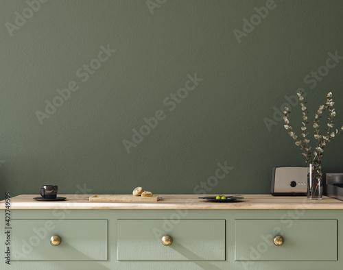 Fototapeta Wall mock up in kitchen interior background, Farmhouse style, 3d render obraz