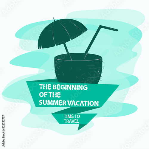 icon sticker for the design on the theme of recreation vacation and travel coconut with a drink inside the flag with the inscription slogan the background can be removed