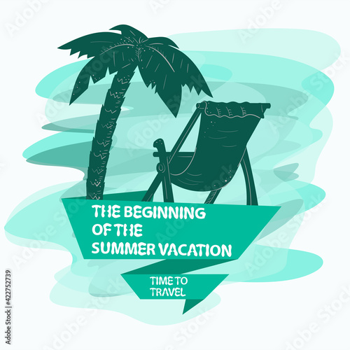 the icon is a sticker for creating a design on the theme of recreation vacation and travel A tree a palm tree and a beach chair and a flag with an inscription slogan the background can be removed