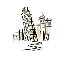 Leaning Tower Of Pisa. Italy Hand Drawing. Pizansky Tower At Miracle Field.