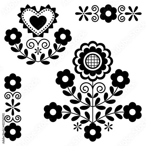 Fototapeta Cute Polish Floral folk art vector monochrome design elements inspired by traditional highlanders embroidery Lachy Sadeckie from Nowy Sacz in Poland  	 obraz