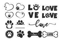 Vector Design Loves Dogs. Heart, Bone And Floating Dog Feet For Pet Supplies Stores.