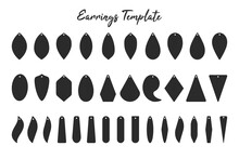 Earring Shape Template Black Shadow Of Earrings With Circular Hoops For Cut Out Handmade Earrings.
