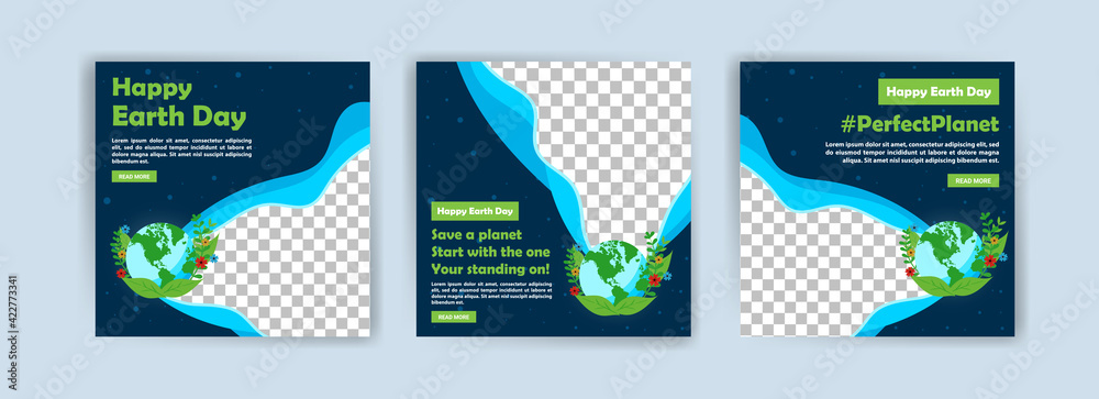Obraz Earth Day. Education to protect the environment. Banner vector for social media ads, web ads, business messages, discount flyers and big sale banners. fototapeta, plakat