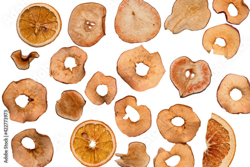 Fototapeta Dried fruit isolated on white background. Dried grapefruit, dried apple, dried pear. obraz