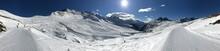 Photo Panoramique Montagnes, Ski, Neige, Ciel Bleu