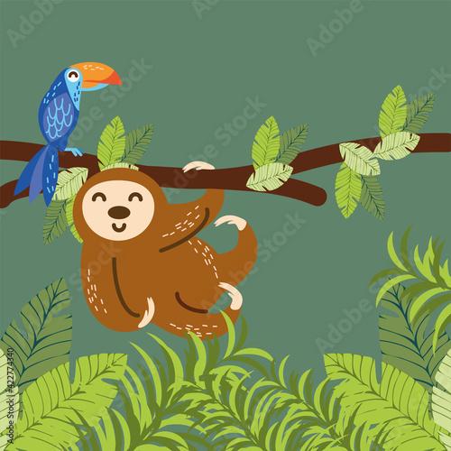 Fototapeta premium sloth parrot branch