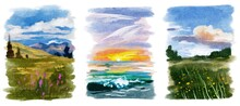 Watercolor Summer Poster Collection Landscape. Hand Drawn Background.  Painting Countryside Illustration. Can Be Use For Banner, Card, Postcard, Interior Poster.