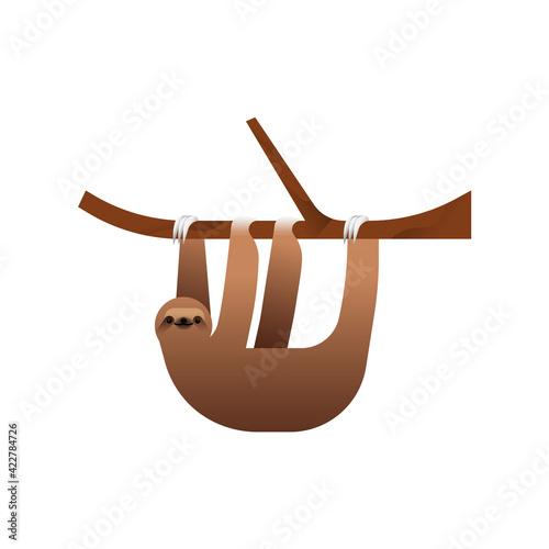 Fototapeta premium Happy sloth animal illustration isolated
