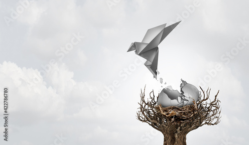 Fotografia, Obraz Concept of a new idea and birth of ideas as a cracked egg with an origami bird h