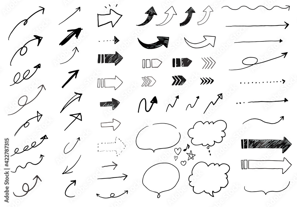 Fototapeta 様々な種類の矢印の手書きベクターイラスト素材