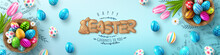 Easter Egg Happy Easter Background With Easter Eggs. Easter Card. Place For Your Text. Vector Illustration.