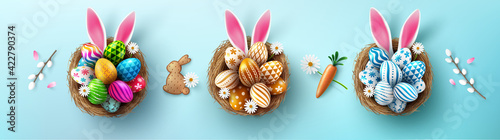 Photo easter egg Happy Easter background with Easter eggs