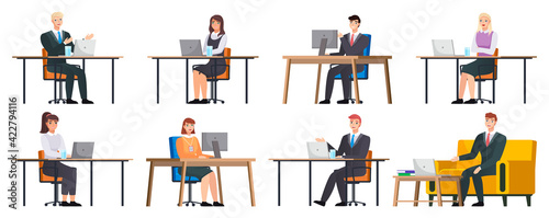 Office workers. Co-workers. Colleagues discuss project teamwork. Office staff work and communication