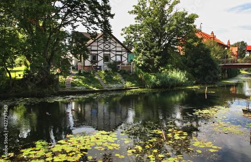 River Tuga in Nowy Dwor Gdanski. Poland - fototapety na wymiar