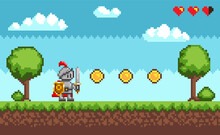 Pixel-game Knight Brave Character In Armor. Natural Landscape With Warrior Holding Shield And Sword