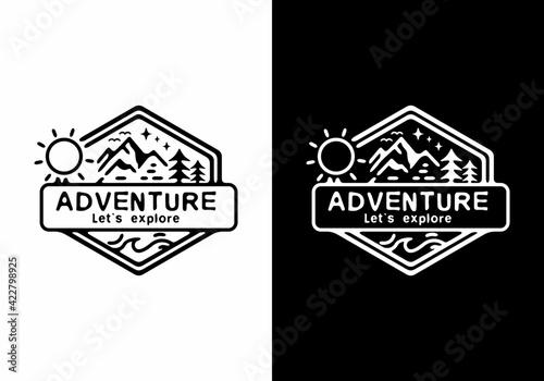 Obraz na plátně Black and white hexagon mountain illustration