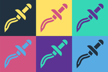 Pop Art Dagger Icon Isolated On Color Background. Knife Icon. Sword With Sharp Blade. Vector