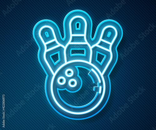 Fotografija Glowing neon line Bowling pin and ball icon isolated on blue background