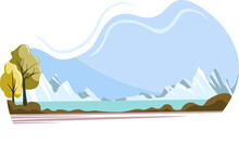 Vector Nature Background Image With Hills, Sea And Green Zone. EPS 10. Concept. Cartoon Style