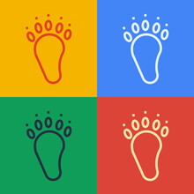 Pop Art Line Bear Paw Footprint Icon Isolated On Color Background. Vector