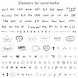 Hand drawn doodle images for social media. Creative words, letters, slang, cute funny elements. Emotions. Gray.
