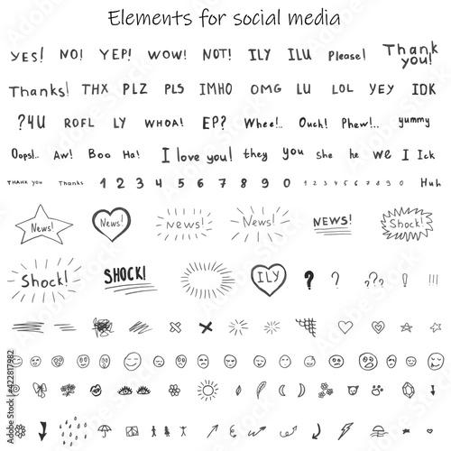 Fototapeta Hand drawn doodle images for social media. Creative words, letters, slang, cute funny elements. Emotions. Gray. obraz
