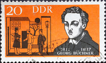 GERMANY, DDR - CIRCA 1963  : A Postage Stamp From Germany, GDR Showing A Portrait Of The Writer Georg Büchner, Scene From The Drama Woyzeck