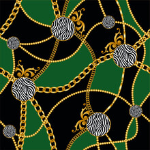 Seamless Golden Chains With Zebra Pattern.Vector Design For Fashion Prints And Backgrounds.