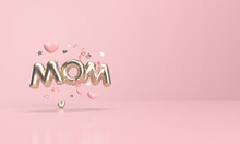 Mother's Day With Golden Mom Writing In 3d Render.