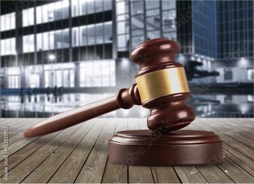 Canvas Print Wooden judge gavel, justice concept
