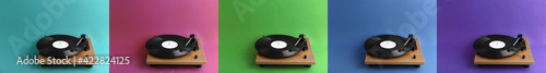 Fototapeta Collage of turntables with vinyl records on different color backgrounds. Banner design obraz
