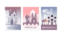 Travel The World Poster With New York, Prague And Brussels City View Vector Set