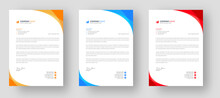 Corporate Modern Letterhead Design Template Set With Yellow, Blue  And Red Color. Creative Modern Letter Head Design Templates For Your Project.