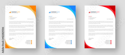 Fotografia, Obraz corporate modern letterhead design template set with yellow, blue  and red color