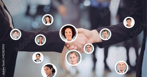 Composition of businesswomen shaking hands with network of people's photographs