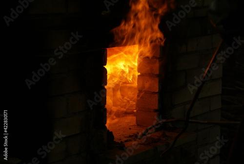 Fototapeta wnętrze pieca wypalanie naczyń glinianych obraz