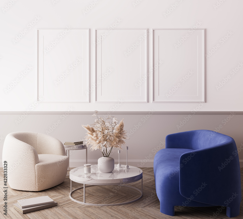 Fototapeta Modern living room design, blue minimal sofa with trendy home accessories, white Frame mock up, 3d render