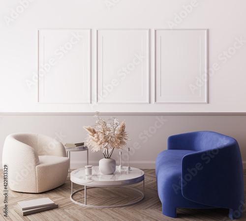 Obraz Modern living room design, blue minimal sofa with trendy home accessories, white Frame mock up, 3d render - fototapety do salonu