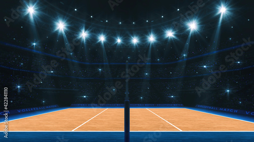 Canvas Print Sport arena interior and professional volleyball court and crowd of fans around