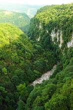 Okatse Canyon Natural Monument, An Okatse River Erosion Canyon Located In Imereti Region Of Georgia.