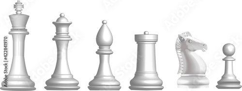 Canvastavla set of chess white