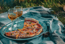 Summer Picnic With Pizza And Wine