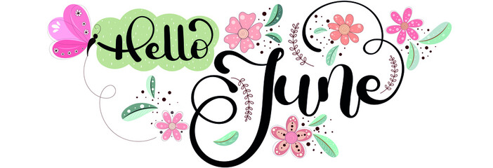 Hello June.  JUNE month vector with flowers, butterfly and leaves. Decoration floral. Illustration month June