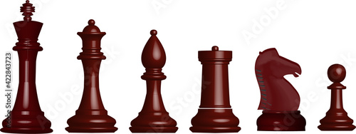 Fotografiet chess set black isolated on white