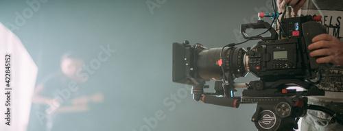 Obraz na plátně Professional film and video camera on the set