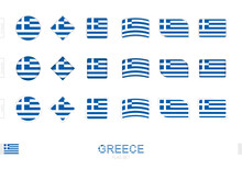 Greece Flag Set, Simple Flags Of Greece With Three Different Effects.