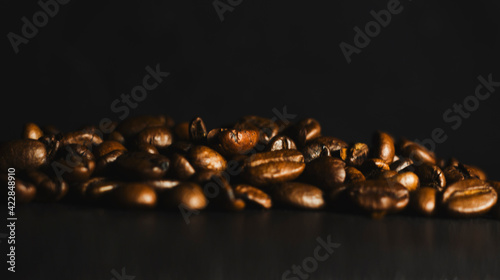 Fotografie, Obraz Brown Roasted Coffee Beans Closeup On Dark Background