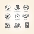 Business core values icon set design
