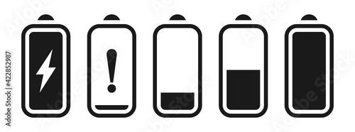 Fotografia Battery capacity black icon set